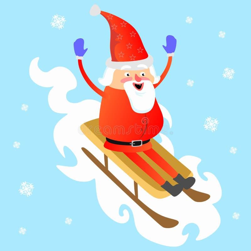 Papá Noel en sombrero y chaqueta rojos, con la barba rodando abajo de la montaña en el trineo blanco de la nieve, se casa de la N stock de ilustración