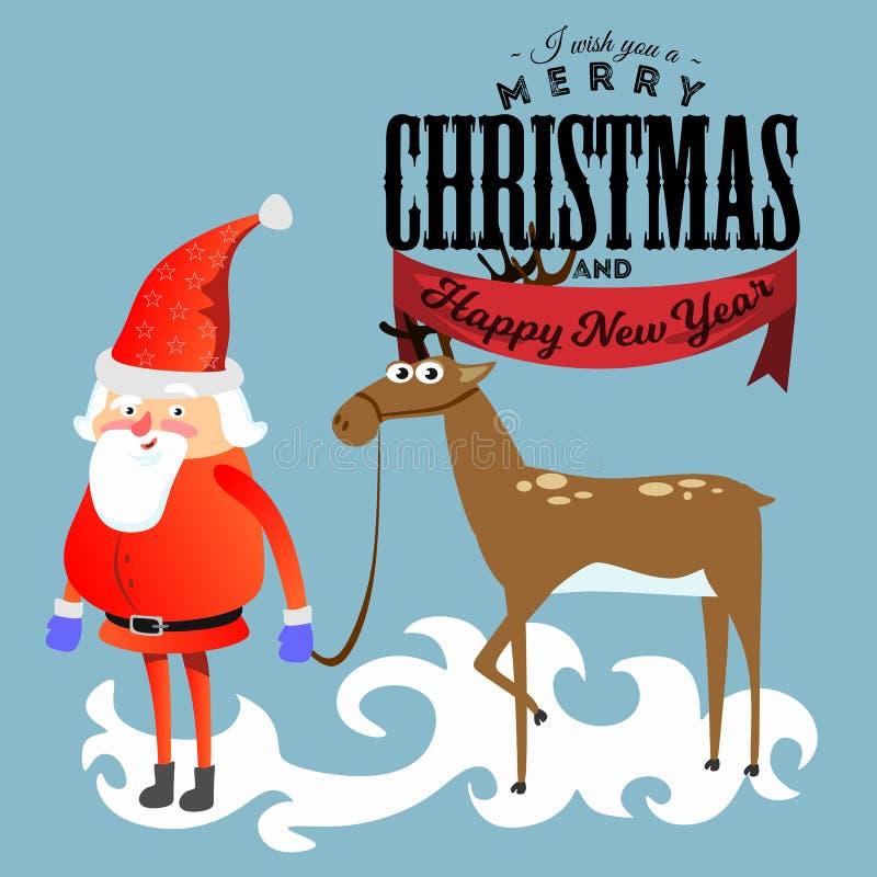 Papá Noel en sombrero y chaqueta rojos, con la barba sosteniendo el reno del halper, se casa de la Navidad y del vector de la Fel stock de ilustración