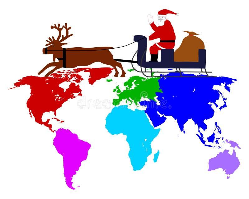 Papá Noel en su trineo sobre los seis continentes stock de ilustración