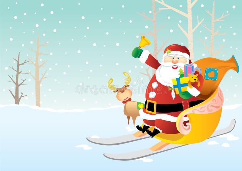 Papá Noel en trineo ilustración del vector