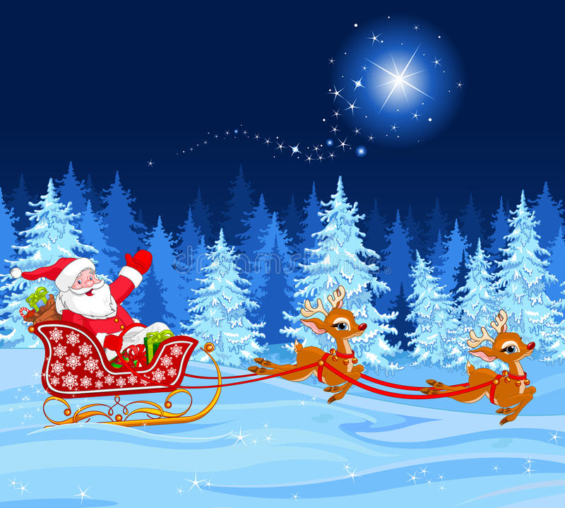 Papá Noel en trineo libre illustration