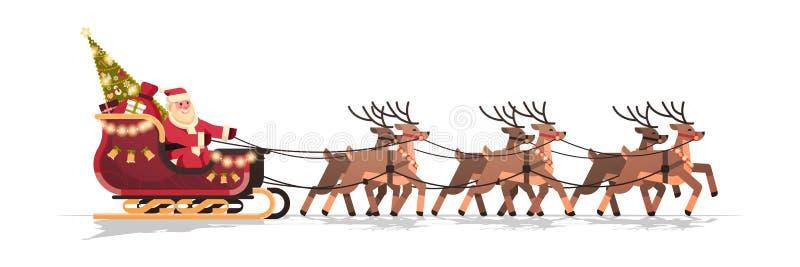Papá Noel en trineo con horizontal aislada concepto de las vacaciones de invierno de la tarjeta de felicitación de la Feliz Año N ilustración del vector