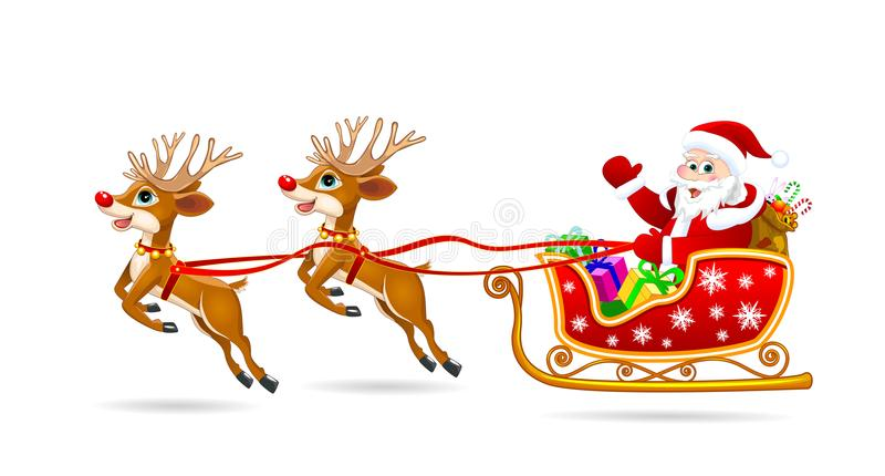 Papá Noel en trineo con los ciervos libre illustration