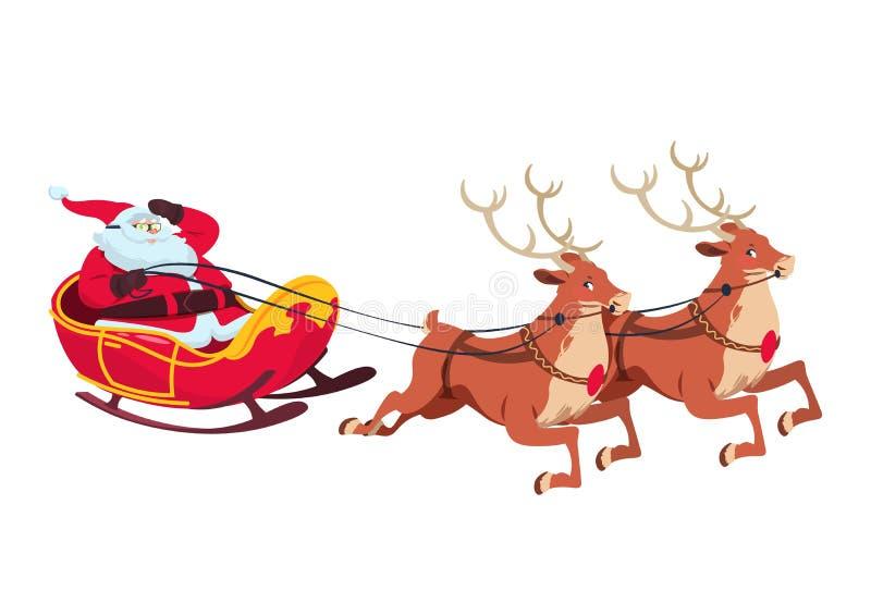 Papá Noel en trineo con los renos Personajes de dibujos animados de la Navidad para la tarjeta de felicitación Ilustración aislad libre illustration