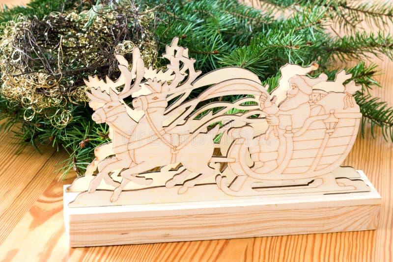 Papá Noel en trineo del reno foto de archivo libre de regalías
