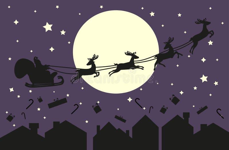 Papá Noel en trineo Silueta en el cielo azul ilustración del vector
