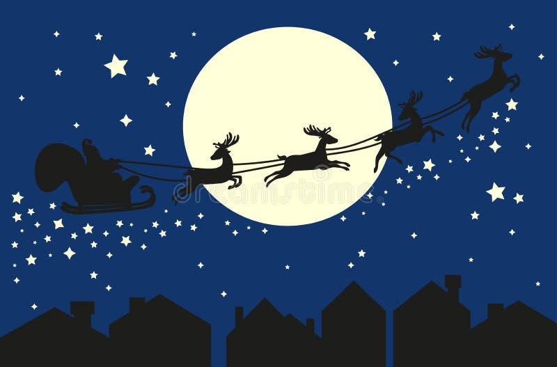 Papá Noel en trineo Silueta en el cielo azul libre illustration