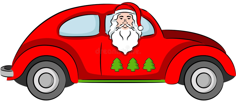 Papá Noel en un coche libre illustration