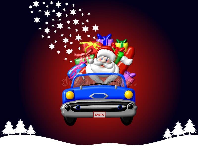 Papá Noel en un coche ilustración del vector