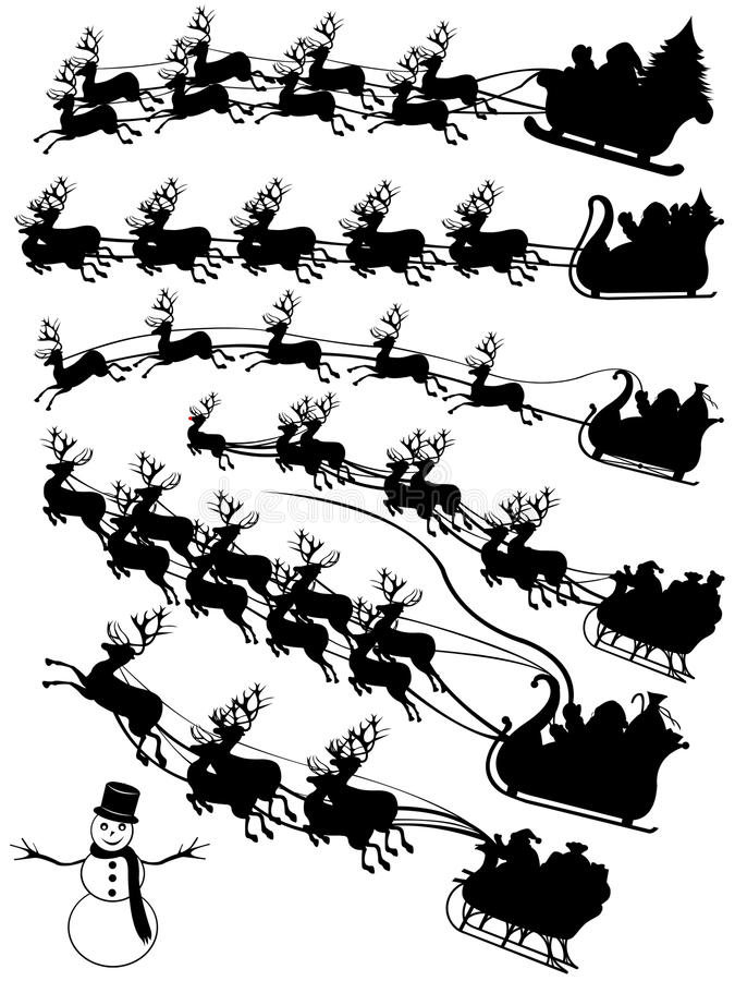 Papá Noel en un collage del trineo stock de ilustración