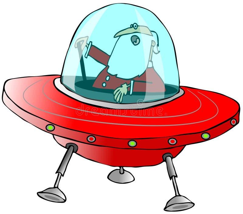 Papá Noel en un platillo volante ilustración del vector