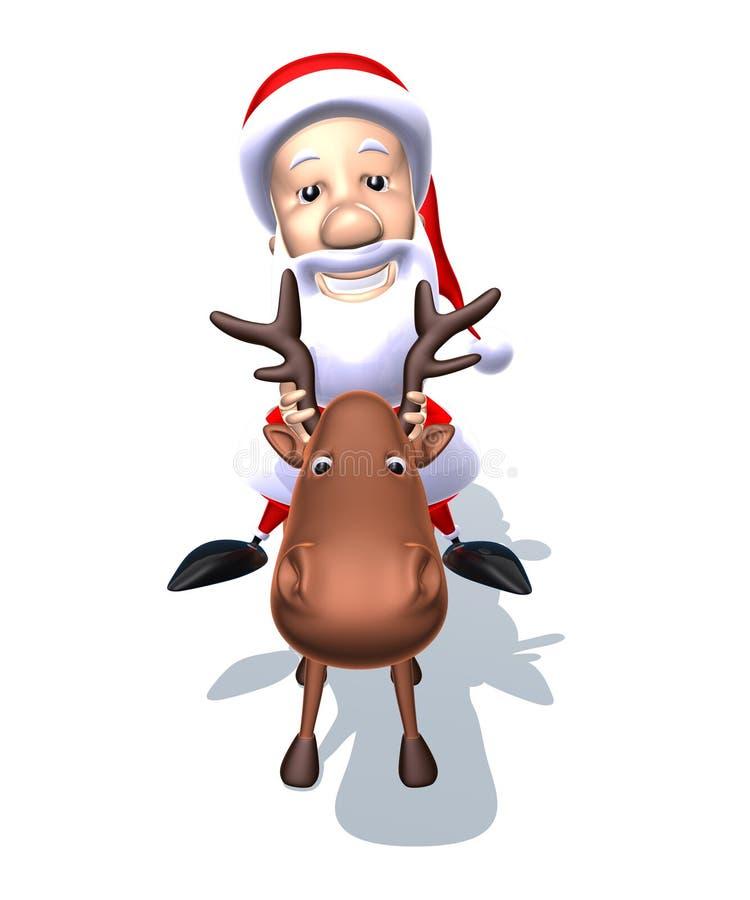 Papá Noel en un reno stock de ilustración