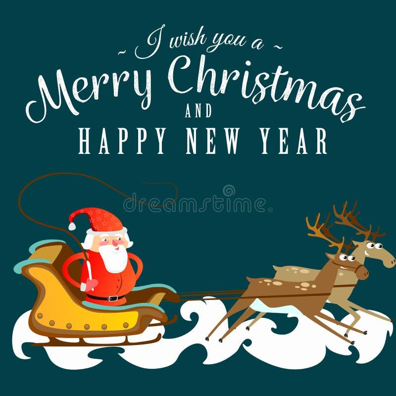 Papá Noel en un sombrero y una chaqueta rojos, con una barba acomete en un trineo que persigue su reno, se casa de la Navidad y f ilustración del vector