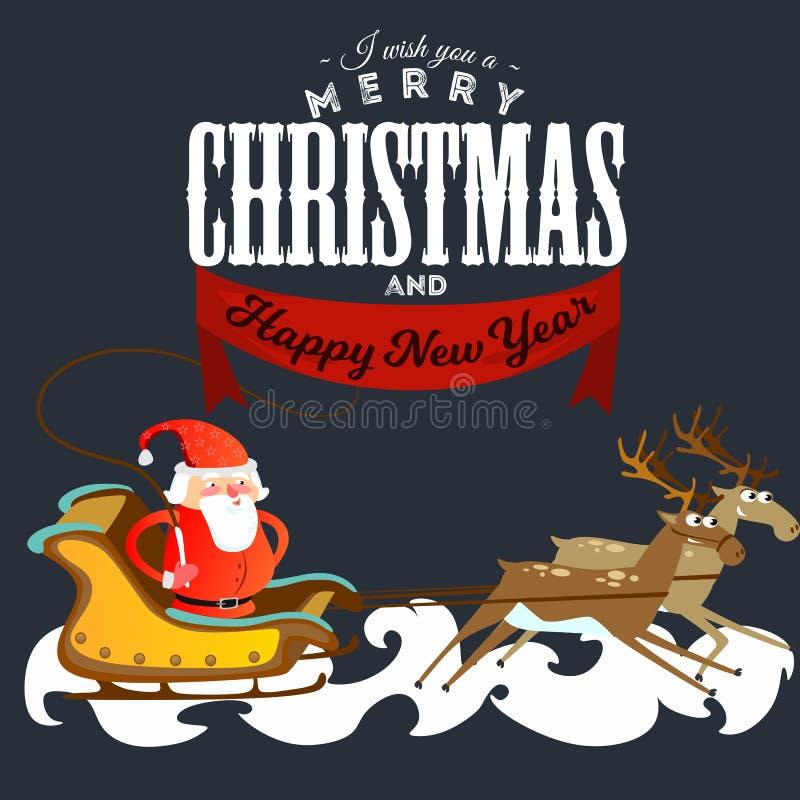 Papá Noel en un sombrero y una chaqueta rojos, con una barba acomete en un trineo que persigue su reno, se casa de la Navidad y f stock de ilustración