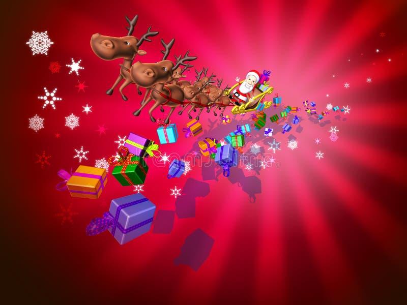 Papá Noel en un trineo ilustración del vector