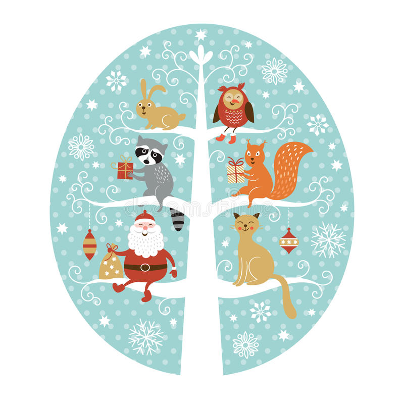Papá Noel en un trineo stock de ilustración
