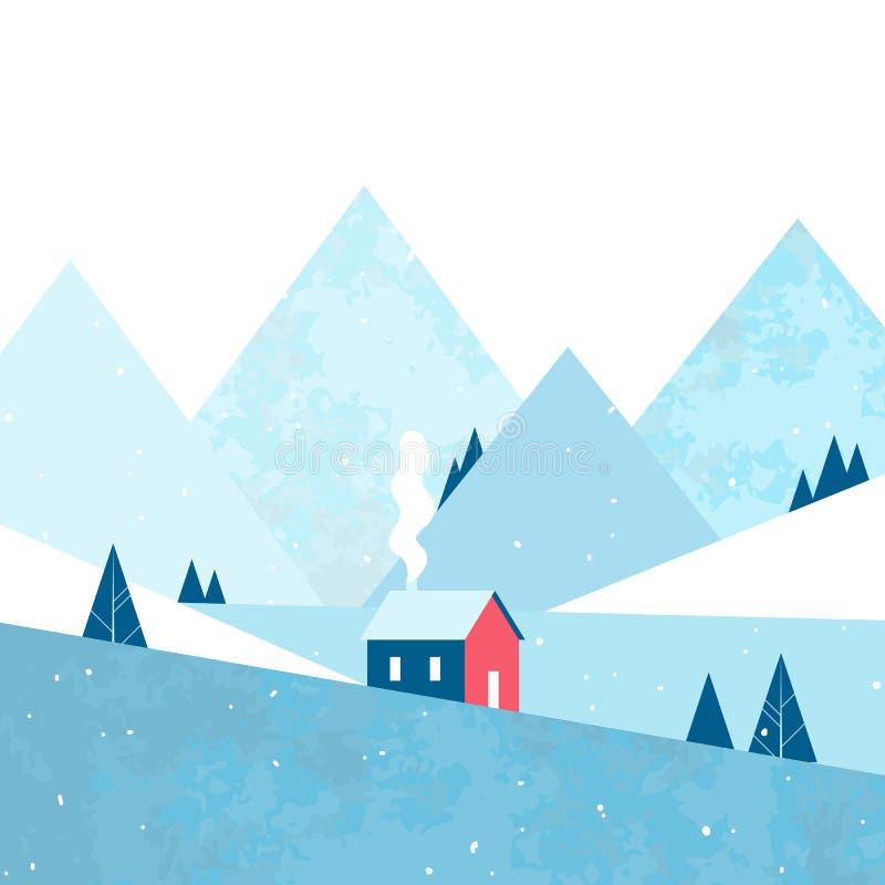 Papá Noel en un trineo Casa acogedora en el bosque y las montañas Paisaje del invierno Vector libre illustration