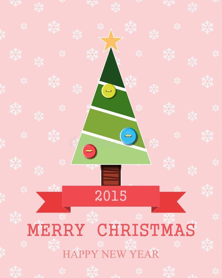 Papá Noel en un trineo Deletreado de la Feliz Navidad ilustración del vector