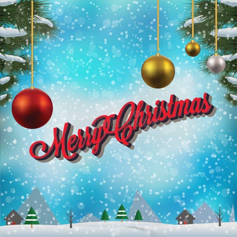 Papá Noel en un trineo Feliz diseño de la fiesta de Navidad con día de fiesta stock de ilustración