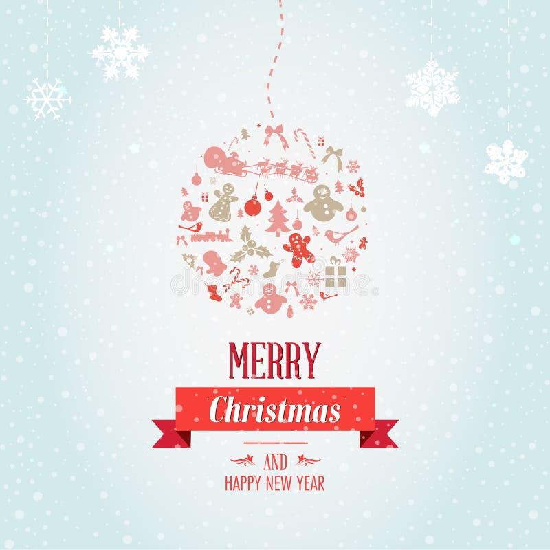Papá Noel en un trineo Feliz diseño de la fiesta de Navidad con día de fiesta ilustración del vector
