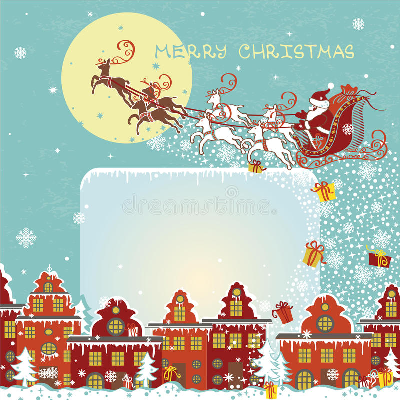 Papá Noel en un trineo Santa Claus que viene a la ciudad ilustración del vector