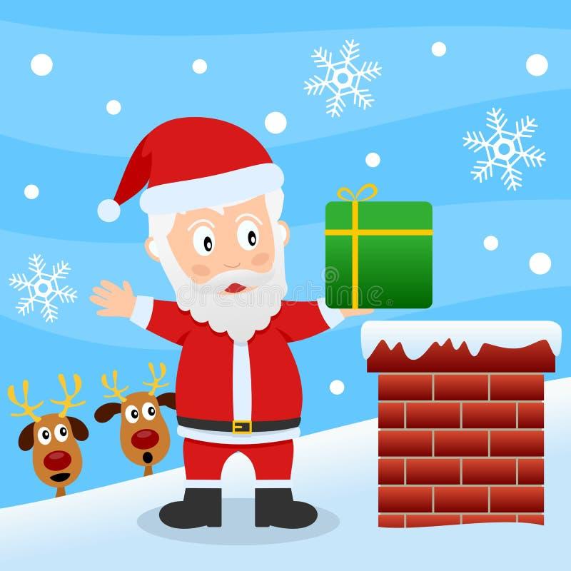 Papá Noel en una azotea libre illustration