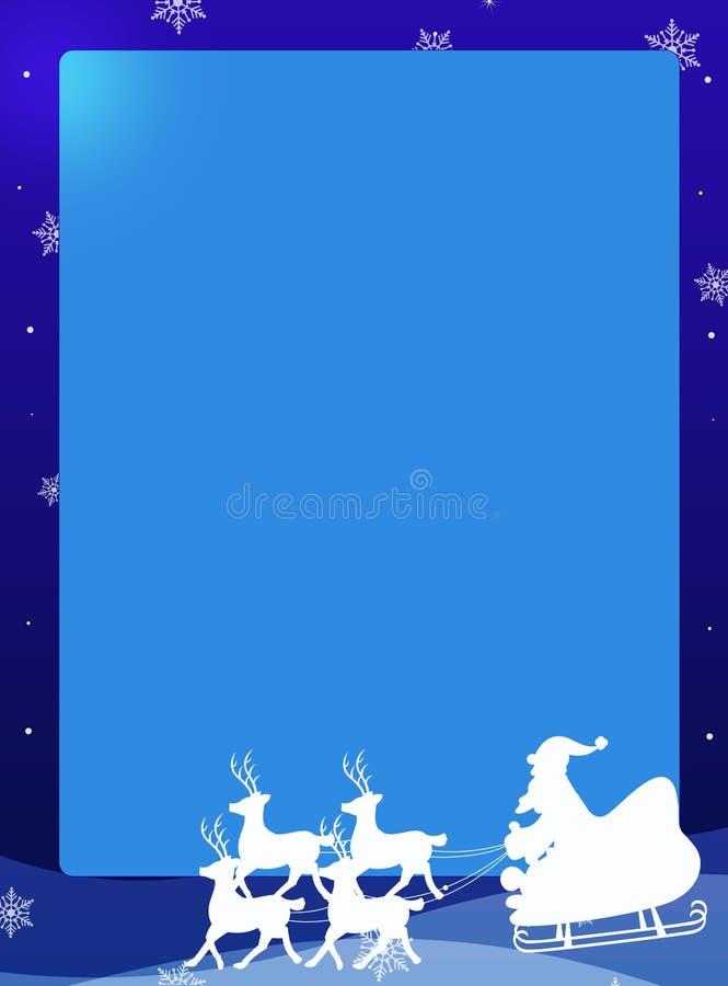 Papá Noel en una frontera del trineo stock de ilustración