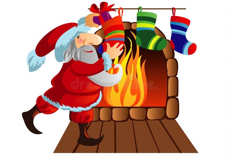 Papá Noel es regalos descompuestos en calcetines ilustración del vector