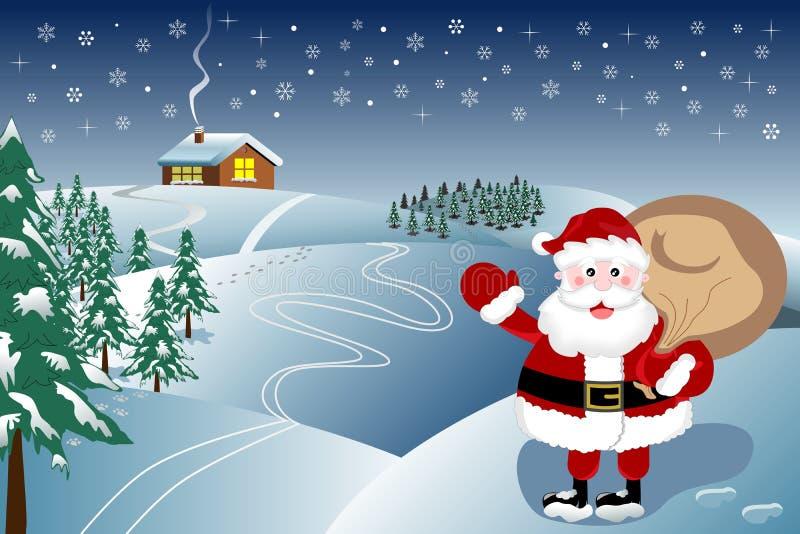 Papá Noel está viniendo ilustración del vector