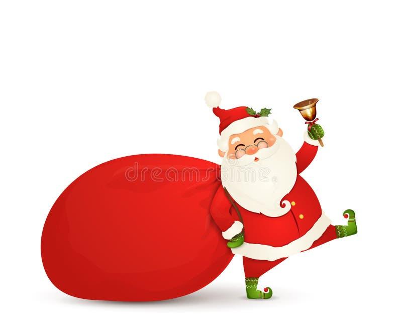 Papá Noel está viniendo Santa Claus con el bolso enorme, rojo, pesado con los presentes, cajas de regalo, cascabel aislado Feliz stock de ilustración