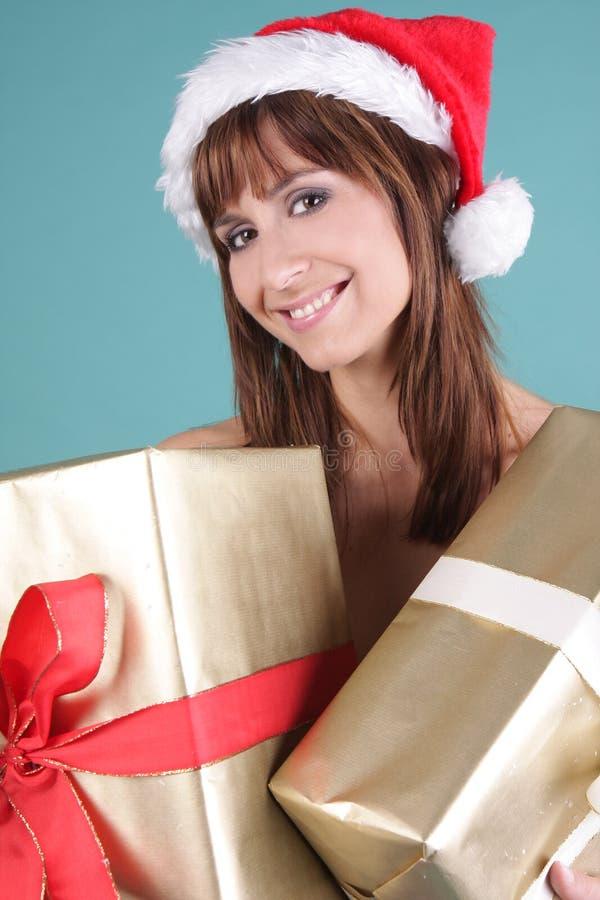 Download Papá Noel femenino foto de archivo. Imagen de brunet, muchacha - 7275902