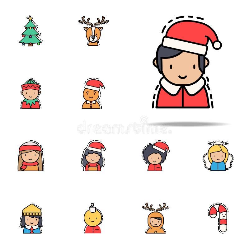 Papá Noel joven coloreó el icono Sistema universal de los iconos de los avatares de la Navidad para la web y el móvil stock de ilustración