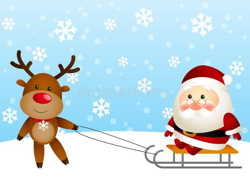 Papá Noel lindo con los ciervos stock de ilustración