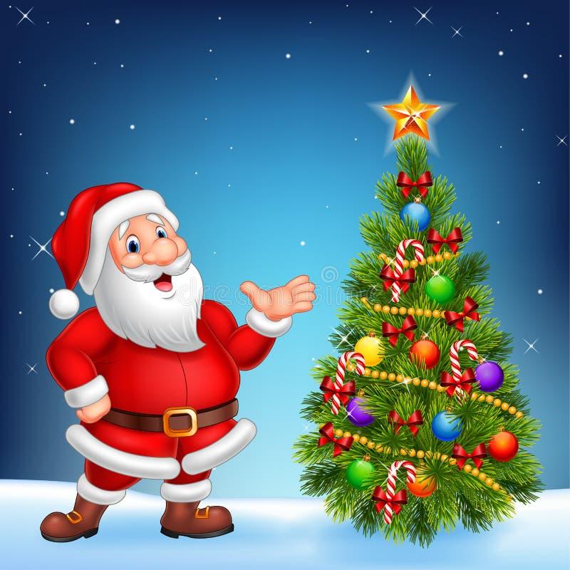 Papá Noel lindo que presenta en un fondo del cielo nocturno ilustración del vector