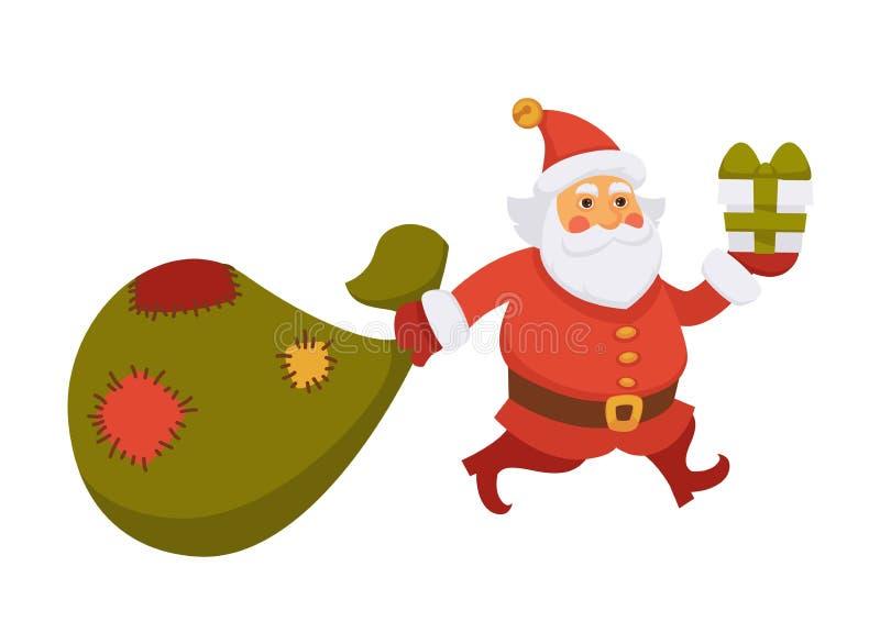 Papá Noel lleva el icono plano del vector del personaje de dibujos animados de la vida de cada día del regalo del Año Nuevo del b stock de ilustración
