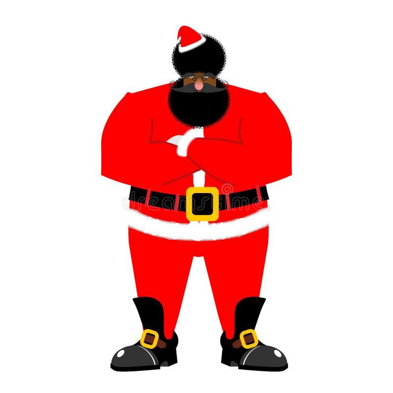 Papá Noel negro gruñón Africano enojado Claus la Navidad furiosa Aframer ilustración del vector