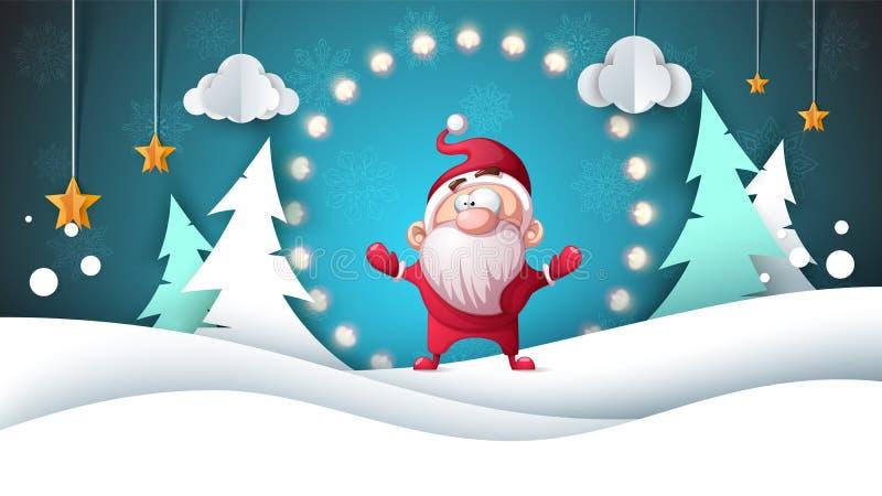 Papá Noel _2 Paisaje de papel Feliz Navidad ¡Nueva… cerveza feliz! ilustración del vector