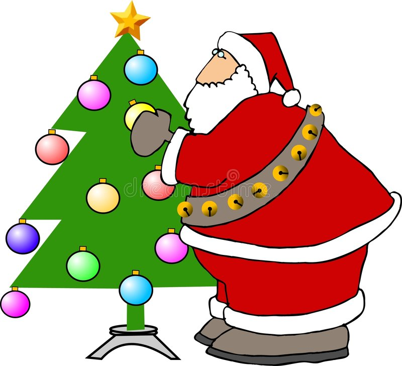 Papá Noel que adorna un árbol de navidad ilustración del vector