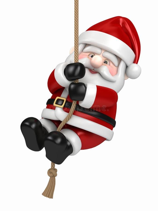 Papá Noel que cuelga en una cuerda stock de ilustración