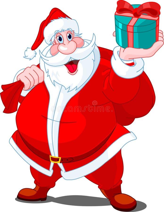Papá Noel que da el regalo stock de ilustración