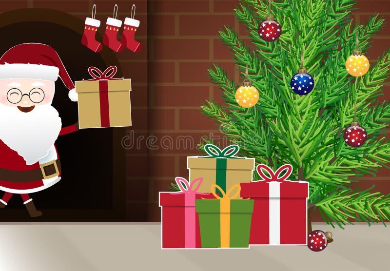 Papá Noel que da el regalo fuera de la chimenea en el hogar, estación de la Navidad ilustración del vector