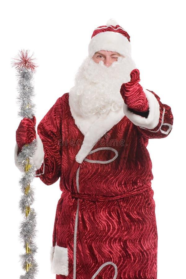 Papá Noel que da la muestra del thumbs-up imagen de archivo