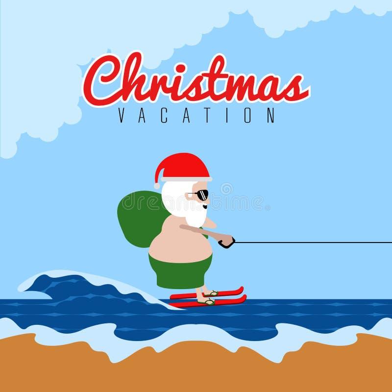 Papá Noel que hace el esquí acuático Vacaciones de la Navidad stock de ilustración