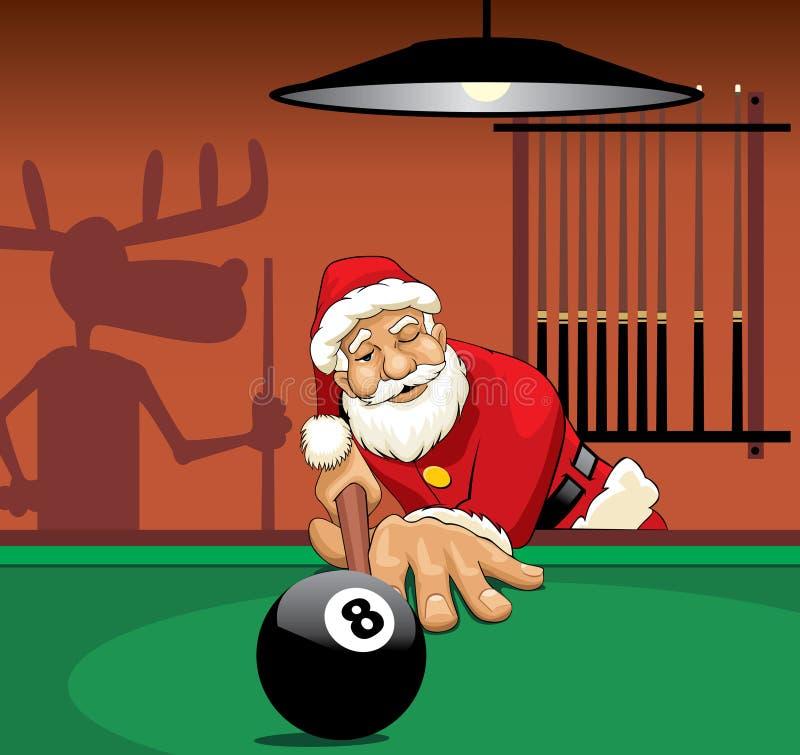 Papá Noel que juega al billar stock de ilustración
