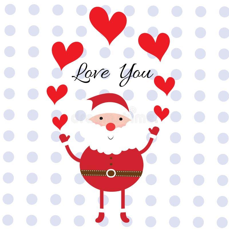 Papá Noel que lleva a cabo el corazón rojo con amor de la palabra backgro usted y del punto stock de ilustración