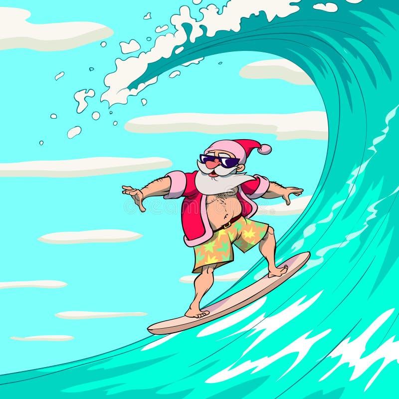 Papá Noel que practica surf ilustración del vector