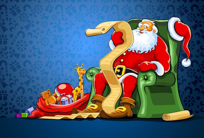 Papá Noel que se sienta en silla con el saco de regalo ilustración del vector