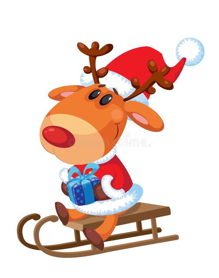 Papá Noel que se sienta en un trineo ilustración del vector