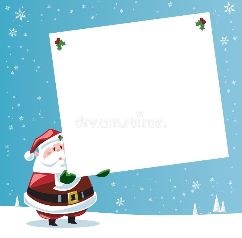 Papá Noel que sostiene la etiqueta grande del regalo ilustración del vector