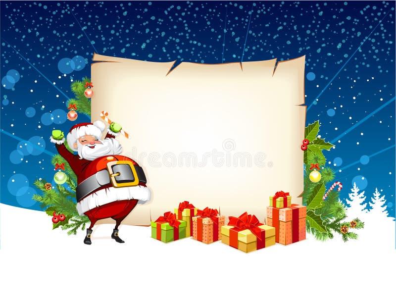 Papá Noel que sostiene un caramelo ilustración del vector